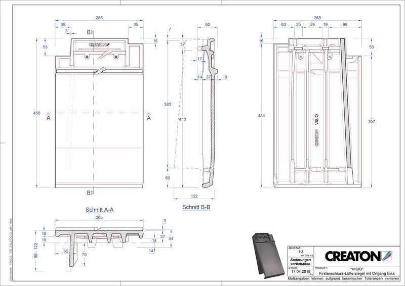 CAD soubor tašky VISIO podhřebenová větrací taška krajní levá FALOGL
