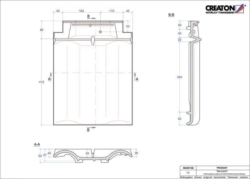 CAD soubor tašky BALANCE podhřebenová větrací taška s dvojitou naválkou FALDWZ