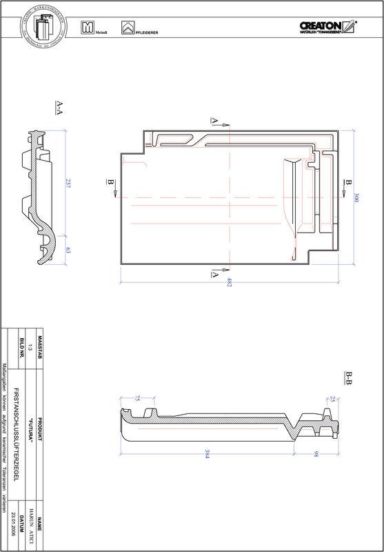 CAD soubor tašky FUTURA podhřebenová větrací taška FALZ