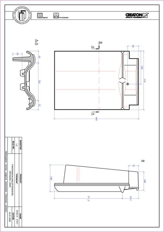 CAD soubor tašky PREMION podhřebenová větrací taška krajní levá FALOGL