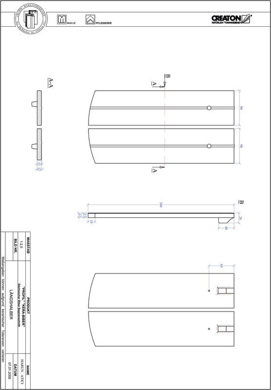 CAD soubor tašky PROFIL segmentový řez KERA-SAECHS-18-CM-LH