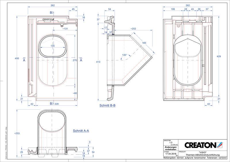 CAD soubor tašky VISIO prostupová taška pro odvod spalin THERME