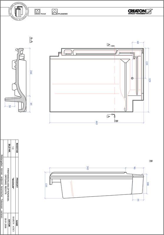 CAD soubor tašky MAGNUM podhřebenová větrací taška krajní pravá FALOGR