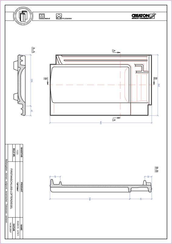 CAD soubor tašky TERRA OPTIMA podhřebenová větrací taška FALZ