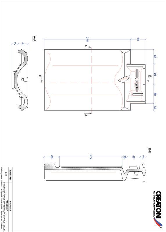 CAD soubor tašky MELODIE podhřebenová větrací taška s dvojitou naválkou FALDWZ
