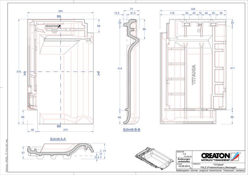 CAD soubor tašky TITANIA podhřebenová větrací taška FALZ