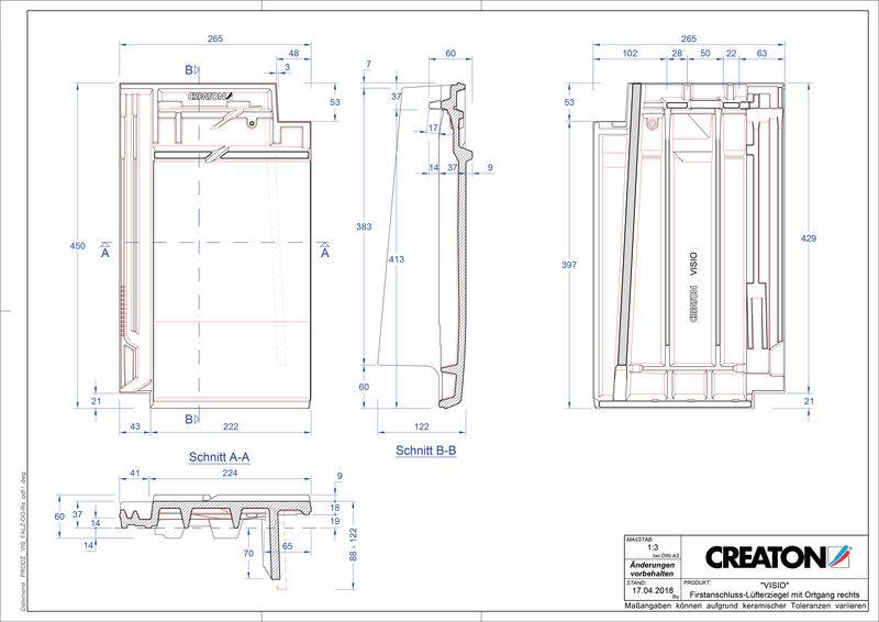 CAD soubor tašky VISIO podhřebenová větrací taška krajní pravá FALOGR