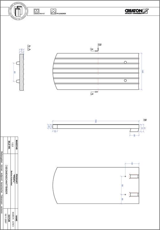 CAD soubor tašky PROFIL segmentový řez BKBI-1-1