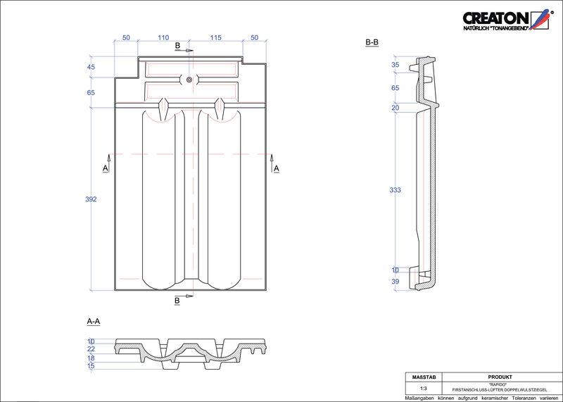 CAD soubor tašky RAPIDO podhřebenová větrací taška s dvojitou naválkou FALDWZ
