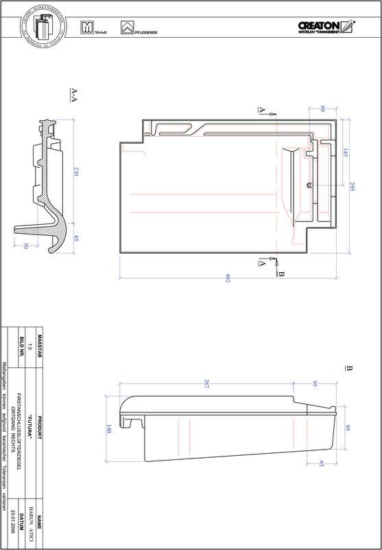 CAD soubor tašky FUTURA podhřebenová větrací taška krajní pravá FALOGR