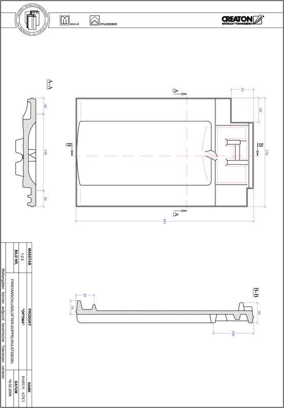 CAD soubor tašky TERRA OPTIMA podhřebenová větrací taška s dvojitou naválkou FALDWZ