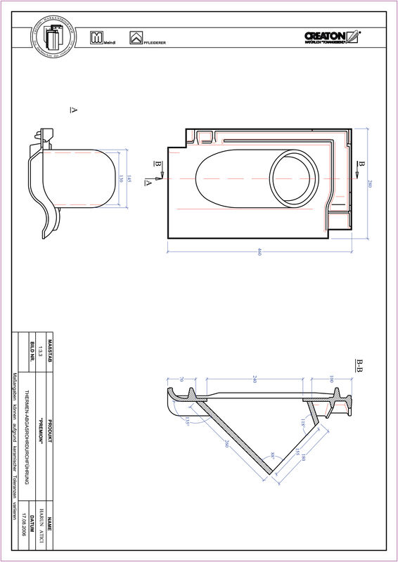 CAD soubor tašky PREMION prostupová taška pro odvod spalin THERME