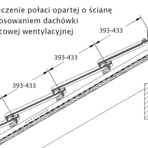 Technický výkres - Dokončení plochy opírající se o stěnu za pomocí podhřebenové větrací tašky