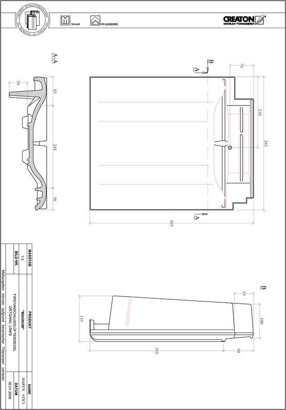 CAD soubor tašky MAGNUM podhřebenová větrací taška krajní levá FALOGL