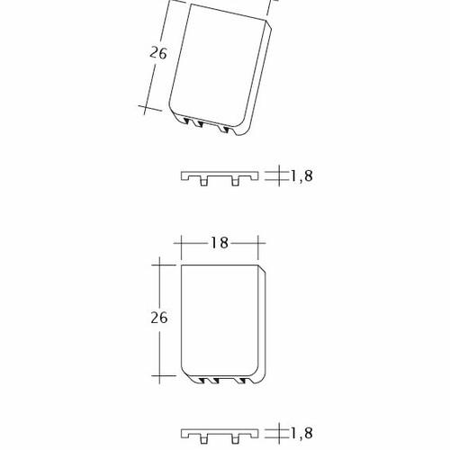 Technický výkres tašky SAKRAL Traufluefter