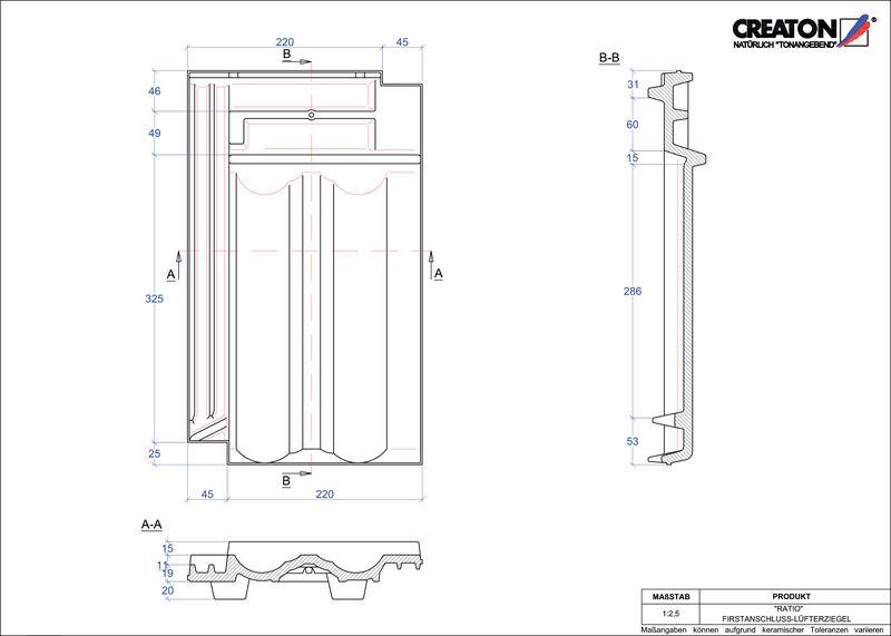 CAD soubor tašky RATIO podhřebenová větrací taška FALZ