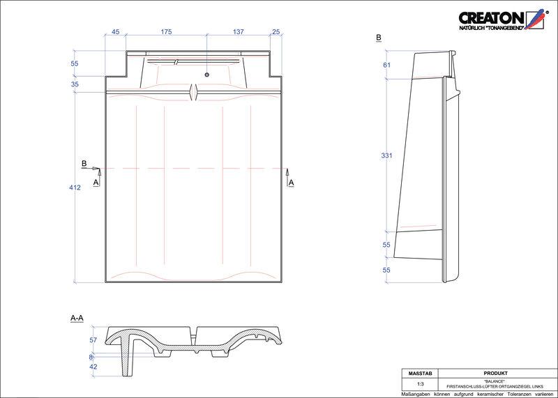 CAD soubor tašky BALANCE podhřebenová větrací taška krajní levá FALOGL