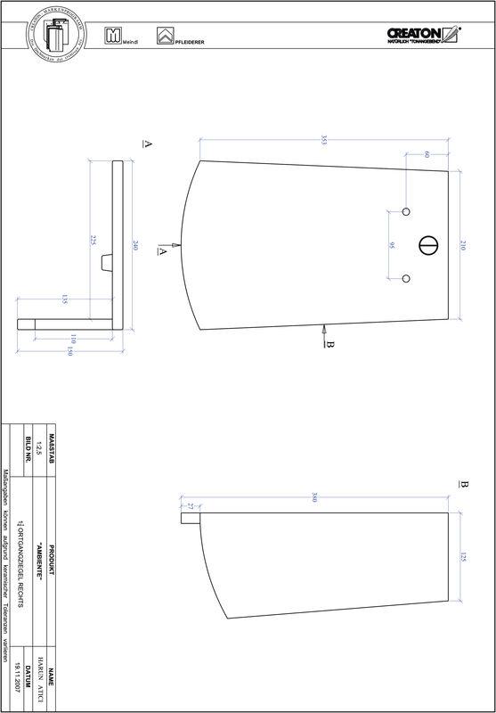 CAD soubor tašky AMBIENTE segmentový řez SEG-OGR-1-1-4