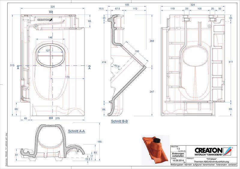 CAD soubor tašky TITANIA prostupová taška pro odvod spalin THERME