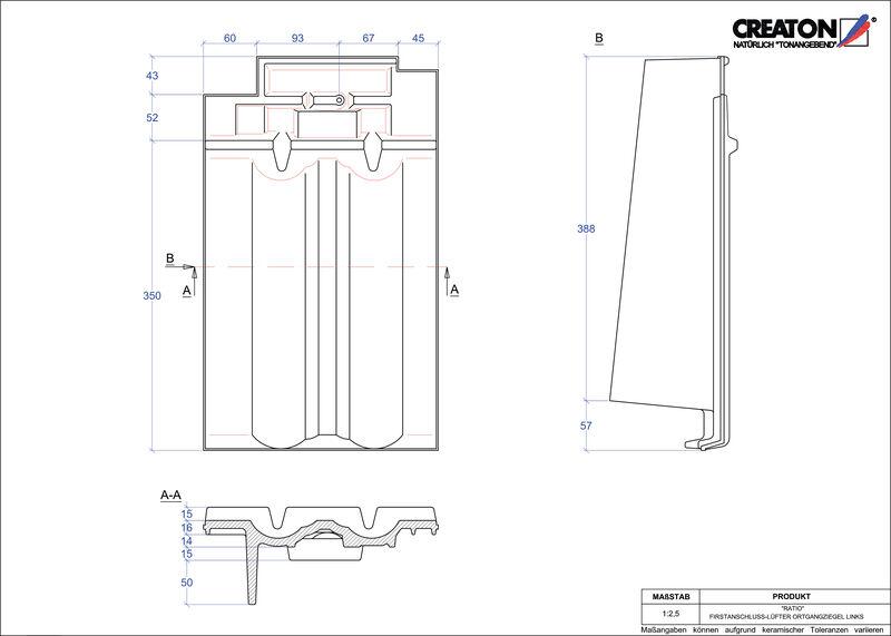 CAD soubor tašky RATIO podhřebenová větrací taška krajní levá FALOGL