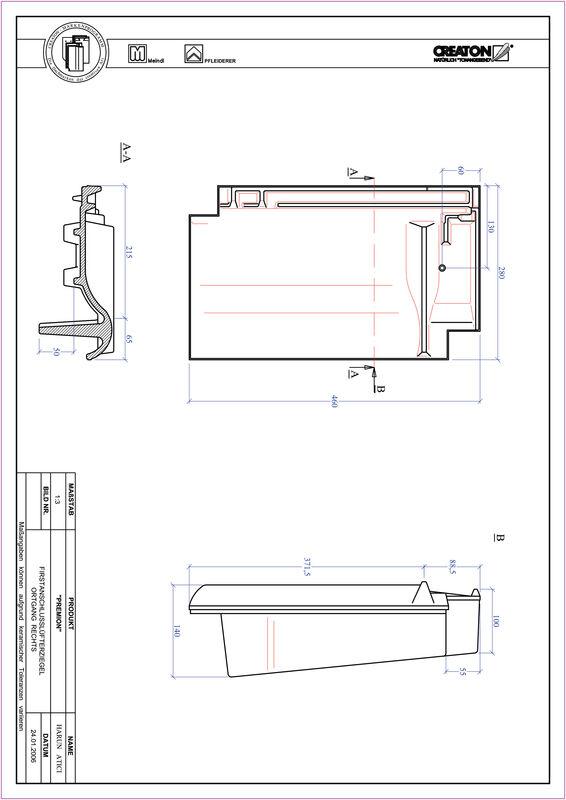 CAD soubor tašky PREMION podhřebenová větrací taška krajní pravá FALOGR