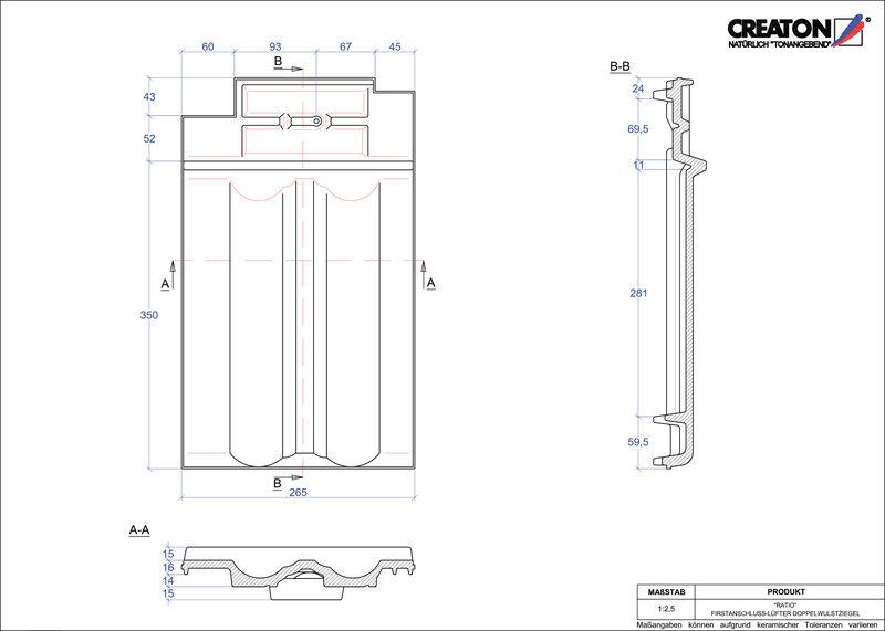 CAD soubor tašky RATIO podhřebenová větrací taška s dvojitou naválkou FALDWZ