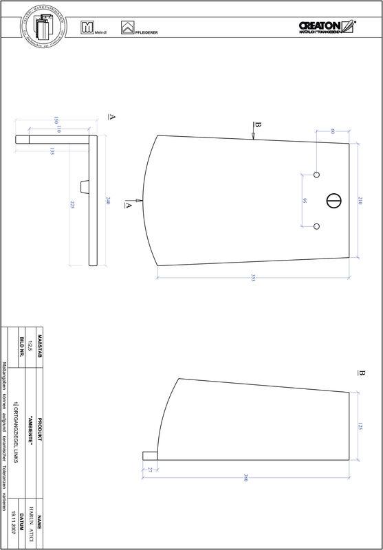 CAD soubor tašky AMBIENTE segmentový řez SEG-OGL-1-1-4