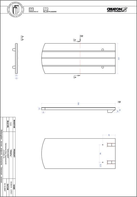 CAD soubor tašky PROFIL segmentový řez KERA-SAECHS-15-CM-1-1