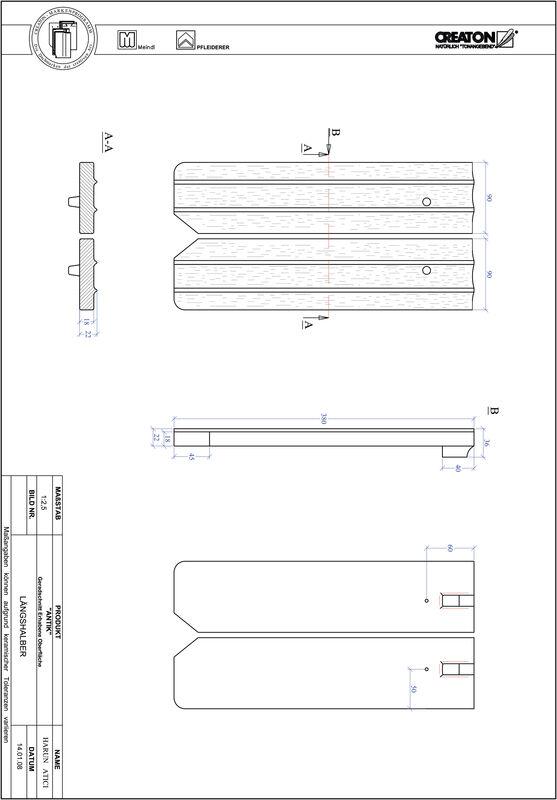 CAD soubor tašky ANTIK rovný řez GER-LH