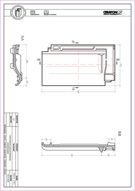 CAD soubor tašky MAGNUM podhřebenová větrací taška půlená FALLH