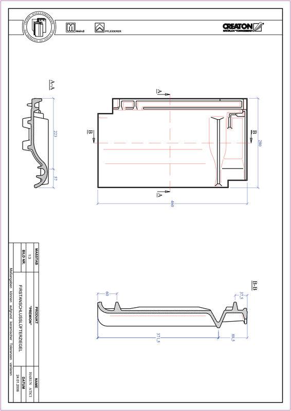 CAD soubor tašky PREMION podhřebenová větrací taška FALZ