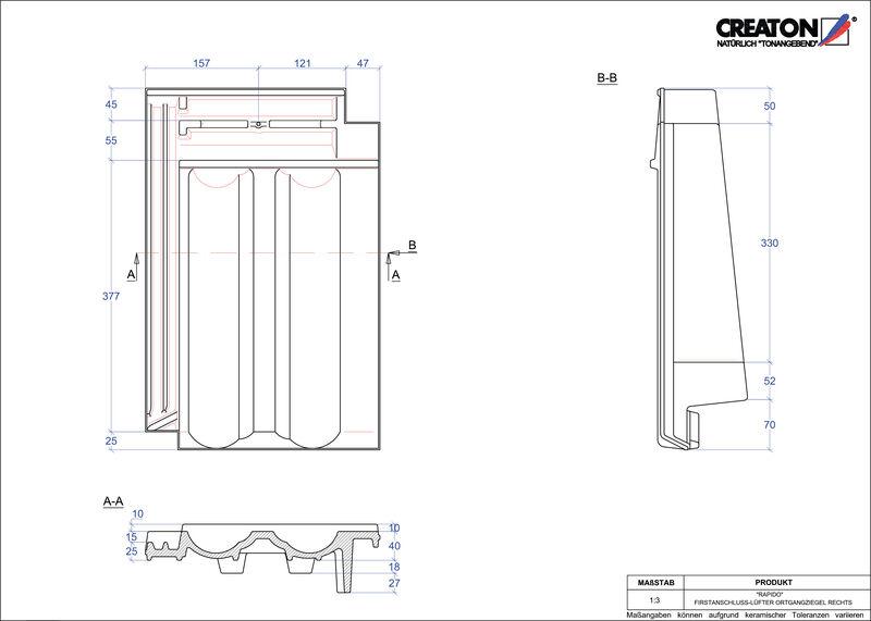CAD soubor tašky RAPIDO podhřebenová větrací taška krajní pravá FALOGR