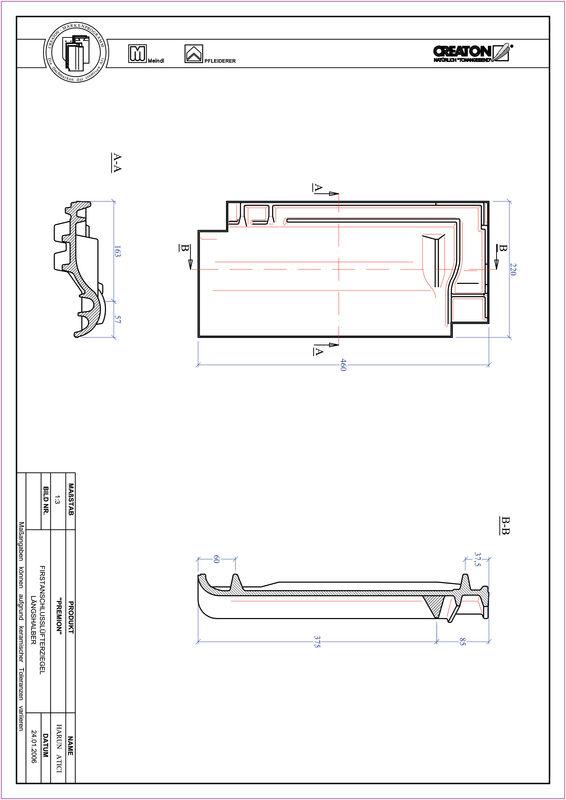 CAD soubor tašky PREMION podhřebenová větrací taška půlená FALLH