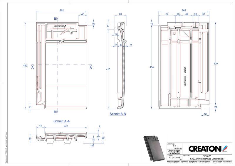 CAD soubor tašky VISIO podhřebenová větrací taška FALZ