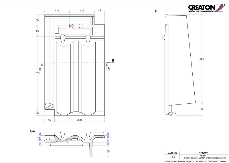 CAD soubor tašky RATIO podhřebenová větrací taška krajní pravá FALOGR