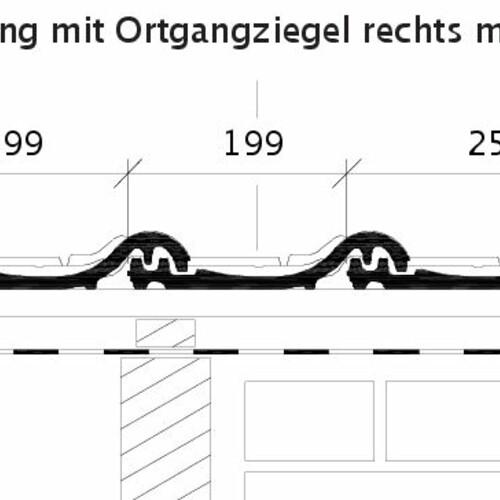 Technický výkres tašky HARMONIE OG krajní taška pravá s plechem a střešní taška ORF
