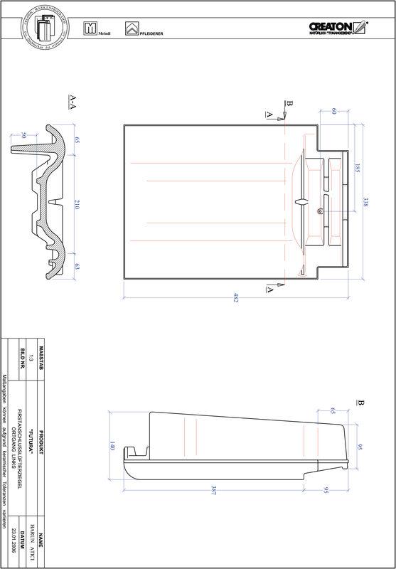 CAD soubor tašky FUTURA podhřebenová větrací taška krajní levá FALOGL