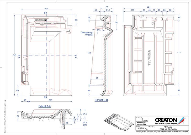 CAD soubor tašky TITANIA podhřebenová větrací taška krajní pravá FALOGR