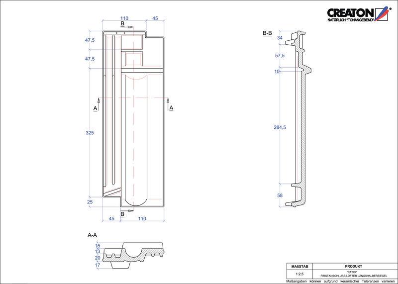 CAD soubor tašky RATIO podhřebenová větrací taška půlená FALLH