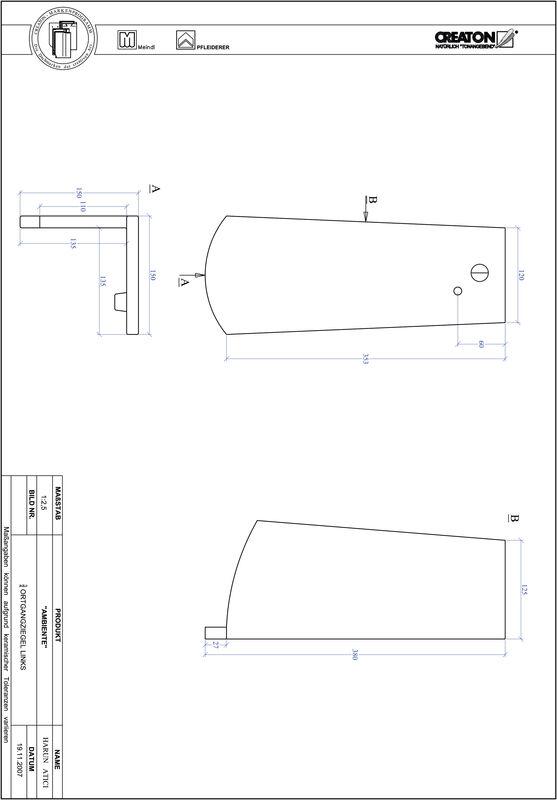 CAD soubor tašky AMBIENTE segmentový řez SEG-OGL-3-4