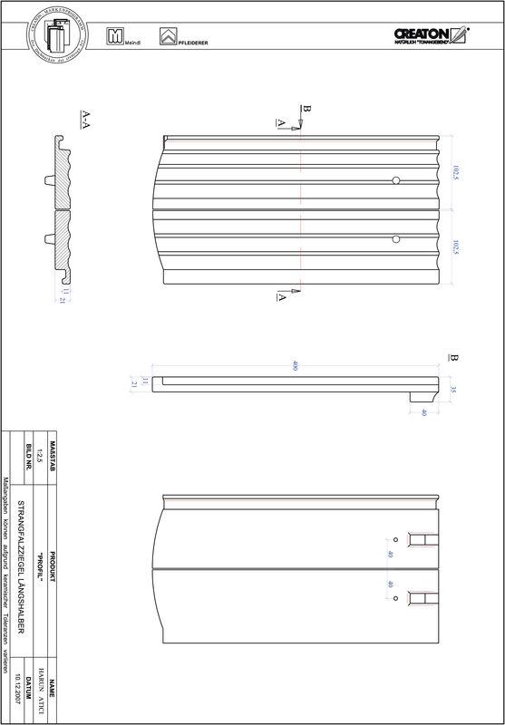 CAD soubor tašky PROFIL segmentový řez STRANGFALZ-GEWELLT-LH