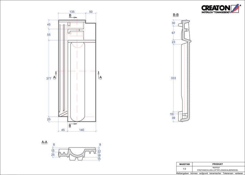 CAD soubor tašky RAPIDO podhřebenová větrací taška půlená FALLH