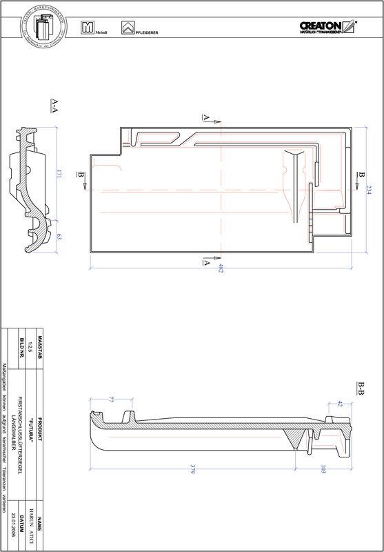 CAD soubor tašky FUTURA podhřebenová větrací taška půlená FALLH