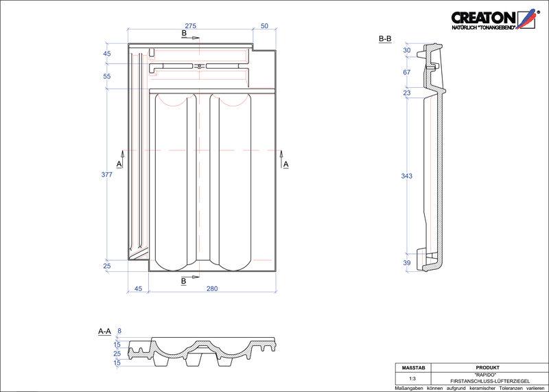 CAD soubor tašky RAPIDO podhřebenová větrací taška FALZ