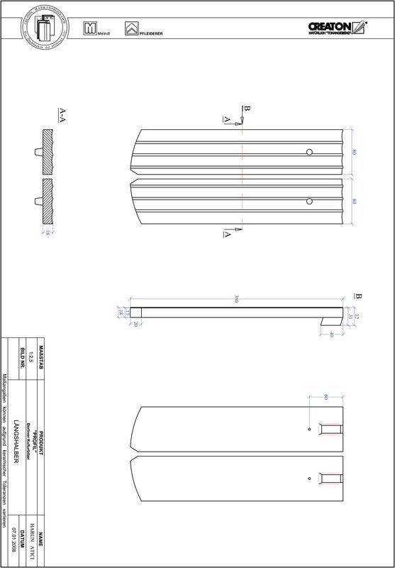 CAD soubor tašky PROFIL segmentový řez BKBI-LH