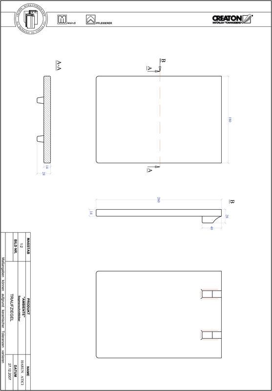 CAD soubor tašky AMBIENTE segmentový řez SEG-TRAUFZIEGEL