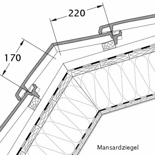 Technický výkres tašky VISIO mansardová taška MAZ