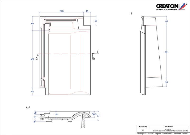 CAD soubor tašky BALANCE podhřebenová větrací taška krajní pravá FALOGR