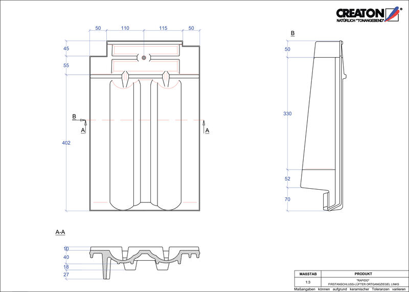 CAD soubor tašky RAPIDO podhřebenová větrací taška krajní levá FALOGL