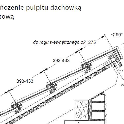 Technický výkres - Dokončení střechy pultovou taškou